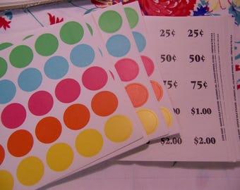 color spots and dollars and cents stickers