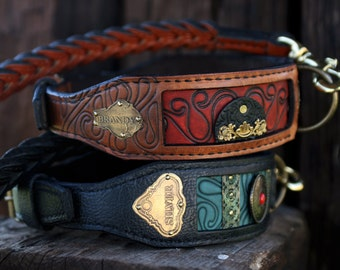 Luxury leather dog collars  | Personalized | Custom made dog collar | Embroidered | Handmade | WORLDWIDE