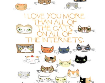 I Love You More Than All The Cats postcard