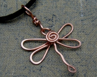 Copper Dragonfly Necklace - Dragonfly Pendant, Dragonfly Jewelry, Copper Wire Wrapped, Jewellery, Gift for Women, Teen Girls
