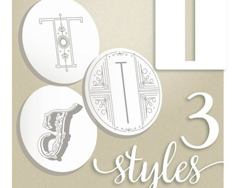 Monogram Embroidery Pattern Letter T hand embroidery patterns in three styles Alphabet Letter embroidery designs by SeptemberHouse