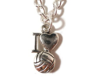 I Love Volleyball Necklace, Silver Volleyball Charm Necklace, Sport Necklace, Metal Necklace, Pendant Necklace, Teen Jewelry, Gift for Her