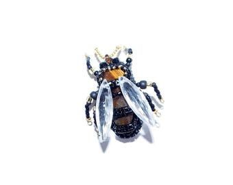 Free shipping USA & Canada. Bead Embroidered Bee Brooch with Tiger Eye. Bumble-Bee Wasp Insect Pin. Black Gold Pin