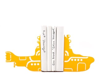 Retro Bookends Yellow submarine //  shelf decorating // gift for music lover//  children bookends// FREE SHIPPING