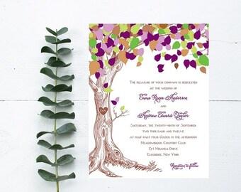 Rustic Tree Wedding Invitations - Purple Wedding Invitation - Rustic Wedding Invitation