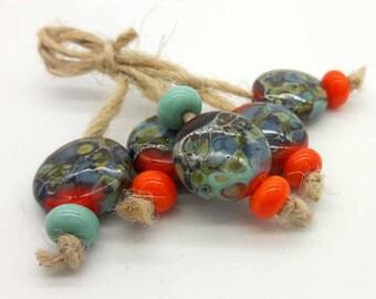 Lampwork beads handmade Beads supplies jewelry Bead for jewelry making Murano beads Set beads Beads SRA Beads orange turquoise purple silver