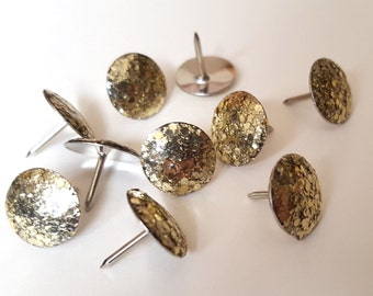Gold Glitter Thumbtacks, Push Pins Set. Perfect for Bulleting Boards, Office Gifts, Office Decor.