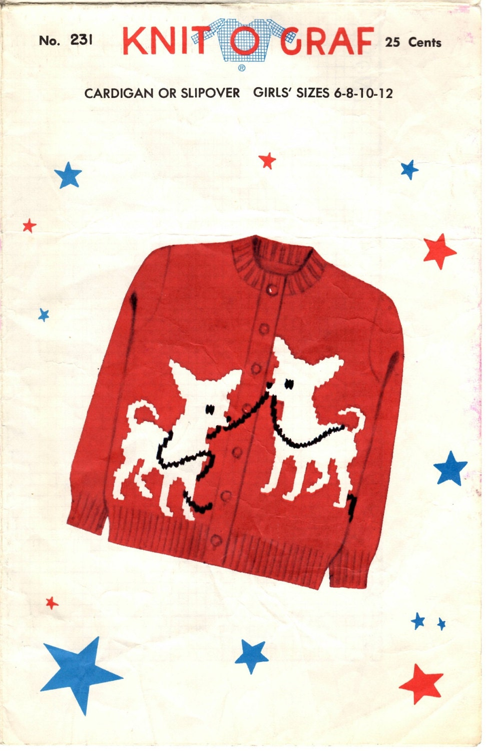 Vtg Knitting PATTERN 231 Knit O Graf Chihuahua Pull over Sweater ...