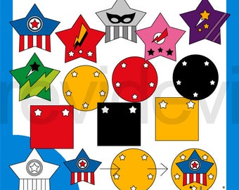 Superhero Stars Mix and Match Clipart sale - Superhero clip art - digital download, commercial use - graphic design by Revidevi