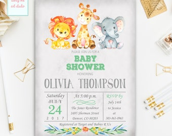 Jungle Safari Baby Shower Invitation, Gender Neutral Invitation, Girl, Boy Safari Baby Shower Invite, Printable Baby Shower Invitation
