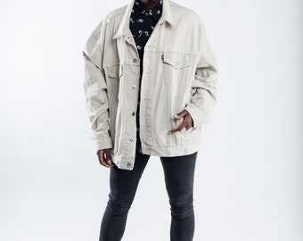 Vintage white Levi's denim jacket / Oversized trucker denim jacket / Women's beige jean jacket / Men's Levi's Strauss denim jacket / Size XL
