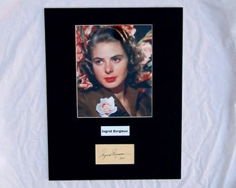 vintage Ingrid Bergman Autograph Autographed Signed Display Art Piece Color photograph photo artwork