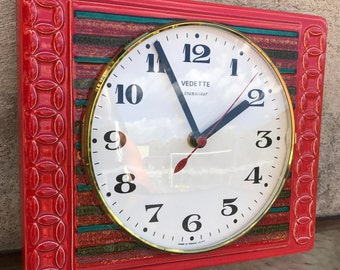 Retro French red ceramic porcelain/Vedette Transistor / wall kitchen clock /France /70s / 80s