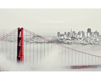 Golden Gate Bridge Photography. San Francisco Photo. Red. Gray. fog. city skyline. cityscape. bay. California