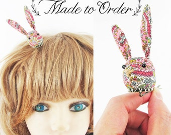 MADE-TO-ORDER ( 1 - 2 Weeks)- Bunny Hair Clip-Liberty Tiny Floral Pink