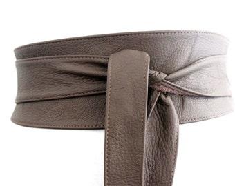 Dark Taupe Brown Leather Obi Belt wrap tie| Waist or Hip Belt | Leather tie belt | Real Leather Belt| Handmade Belt | Plus size belts