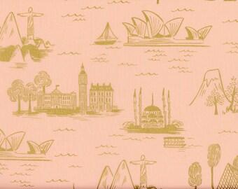 2 1/2 yards Rifle Paper Co. LES FLEURS City Toile (Peach) Fabric