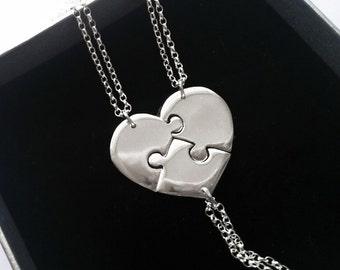 3 Piece Heart Puzzle Necklace, Puzzle Heart Necklaces For 3, Bridesmaid Puzzle Heart Necklaces