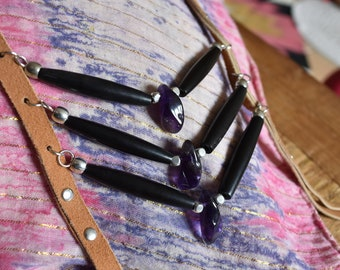 Handcrafted by Swampwitches light brown soft leather, bone beads and amethyst breastplate necklace