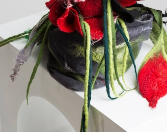 Shawl with flowers / Nuno felting / Red flowers /Silk Scarf With / Handmade felted scarf / Merino wool / Made to order.