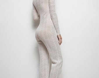eyelet knit jumpsuit body con crochet see through cream festival vintage 60s XS S extra small / small