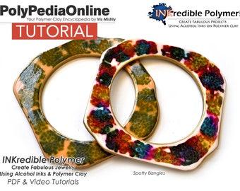Polymer Clay Tutorial, Polymer Clay Jewelry, Bracelet Tutorial, Pendant, Necklace, PDF Tutorial, DIY Handmade Bead, Alcohol Ink, Video, Fimo