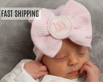Newborn Baby Girls Hat - Hospital Bow Hat - Monogrammed Girls Hat - Large Bow Hat - Monogram - Pink Stripe - Baby Shower Gift