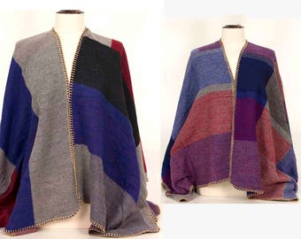 Poncho Cape,Hippies Clothes,Men Poncho,Blanket Shawl,Plaid Poncho,Winter Shawl,Large Cape,Red Cape, Cape Wrap, gift for him,grey, blue