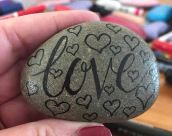Love - painted rock.