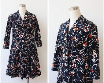 1960's Foral Mod Mini Dress Abstract Atomic Print Dress Cotton Dress Pleated Shirtdress Black Dress Summer Day Dress ML