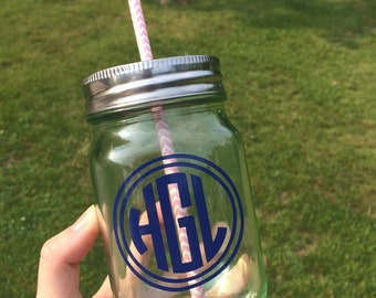 Monogrammed Mason Jar with Lid and Straw