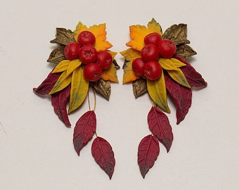 Autumn leaves earrings. Red Berry earrings. Fruit earrings. Yellow red earrings. Polymer clay jewelry. Fall leaves jewelry. Autumn jewelry
