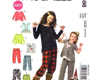 Girls Sewing Pattern McCalls 6596 Easy Pullover Flared Top Shaped Hemline Pull-On Pants Girls Sewing Pattern Size 3 4 5 6 UNCUT