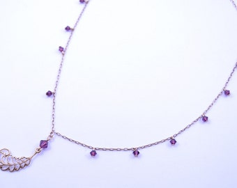 Worn by Bonnie The Vampire Diaries S7E19 Amethyst Necklace Made With Swarovski Elements Adjustable Brass Chain with Filigree Accent