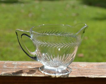 Vintage Clear Glass Creamer Pressed Glass Small Pitcher Panchosporch