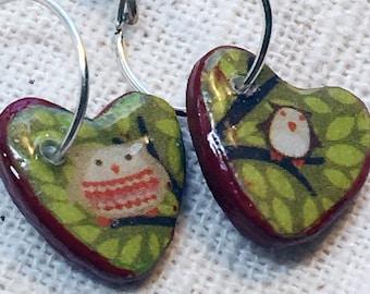 Girls earrings, owl jewelry, silver owl earrings, bird earrings, tiny heart earrings, red heart earrings, red earrings, owl dangles