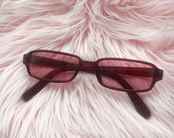 late 90s rectangle frame sunglasses in dusty rose pink