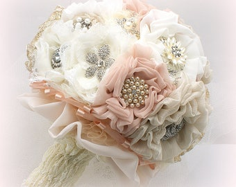 Wedding Bouquet,Blush,Brooch Bouquet,Ivory,Champagne,Fabric Bouquet,Vintage Style,Lace Brooch Bouquet,Gatsby Wedding,Pearl Bouquet,Jeweled