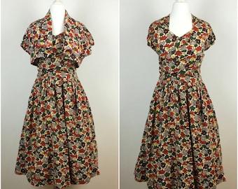Vintage 1950s Dress - Floral Cotton 50s Dress & Bolero - 50s Tea Dress - Swing dress - Party Wedding Celebration - Small xs - UK6 US2 EU34