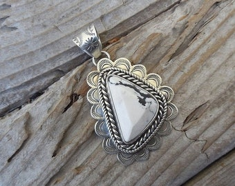 ON SALE White Buffalo turquoise pendant handmade in sterling silver 925 with a beautiful White Buffalo stone