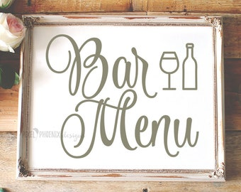 Bar menu SVG, SVG cut file, wedding, getting married, reception, drinks, svg file designs, cricut explore, silhouette cameo, word overlay