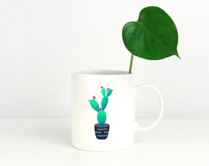 Watercolor Prickly Pear Cactus Mug