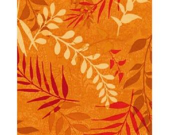 patchwork fabric floral on orange background