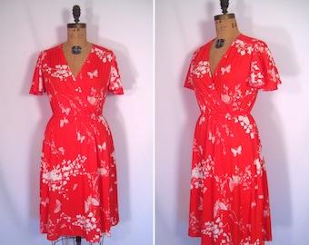 1970s butterfly print dress • 70s faux wrap flutter sleeve dress • vintage novelty print day dress