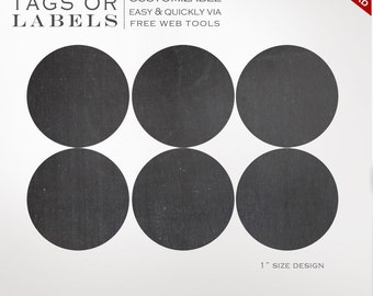 Round Sticker Labels - 1 Inch Round Chalkboard Label Template Kit - Labels Printable Envelope Seals Avery Silhouette Cricut LB1R AAA
