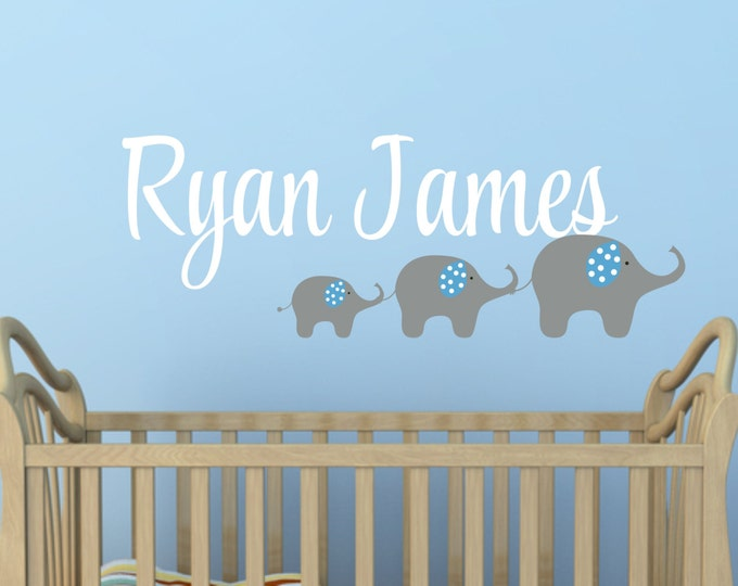 Custom Boys Name With Elephant Decal // Three Elephant Decal // Personalized Name // Boys Bedroom Decor // Nursery Decal
