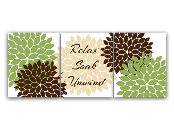 Green and Brown Bathroom CANVAS Wall Art Relax Soak Unwind