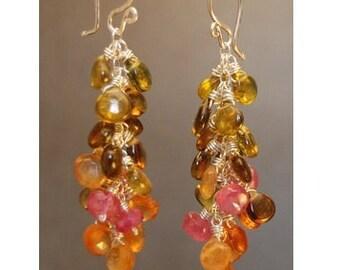 Clusters of idocrase, ruby, and mandarin garnet Princess