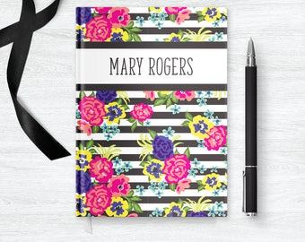 Hardcover Notebook Journal for Her, Floral Journal Personalized Gifts for Women Friends, Custom Notebook Friend Birthday Gift Ideas