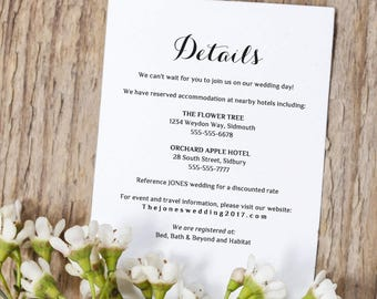Printable Wedding Information Details Template | Info card | Byron | Any colours | Editable Word template | 5x5 template